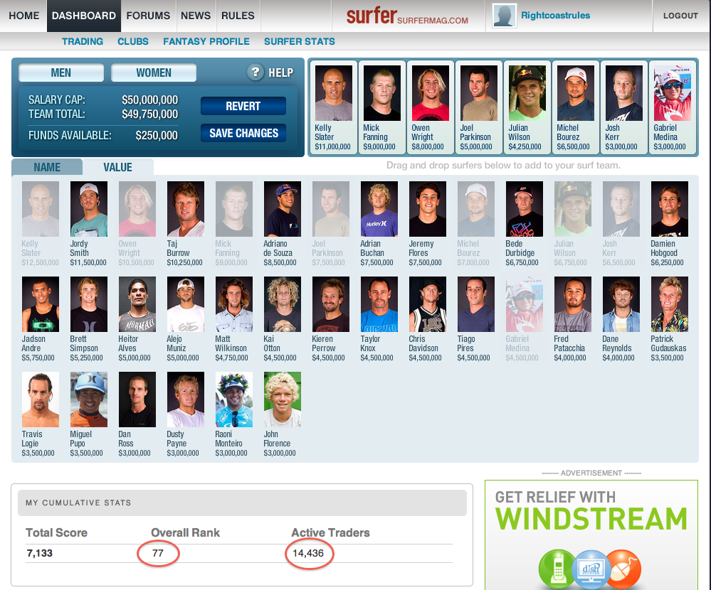 Fantasysurfer - Closing in on the Grand Prize... Again!