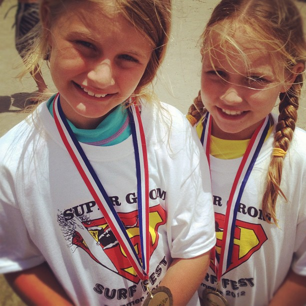 Kaelyn and Cousin Jennah, Super Grom Surf Fest Jax Beach