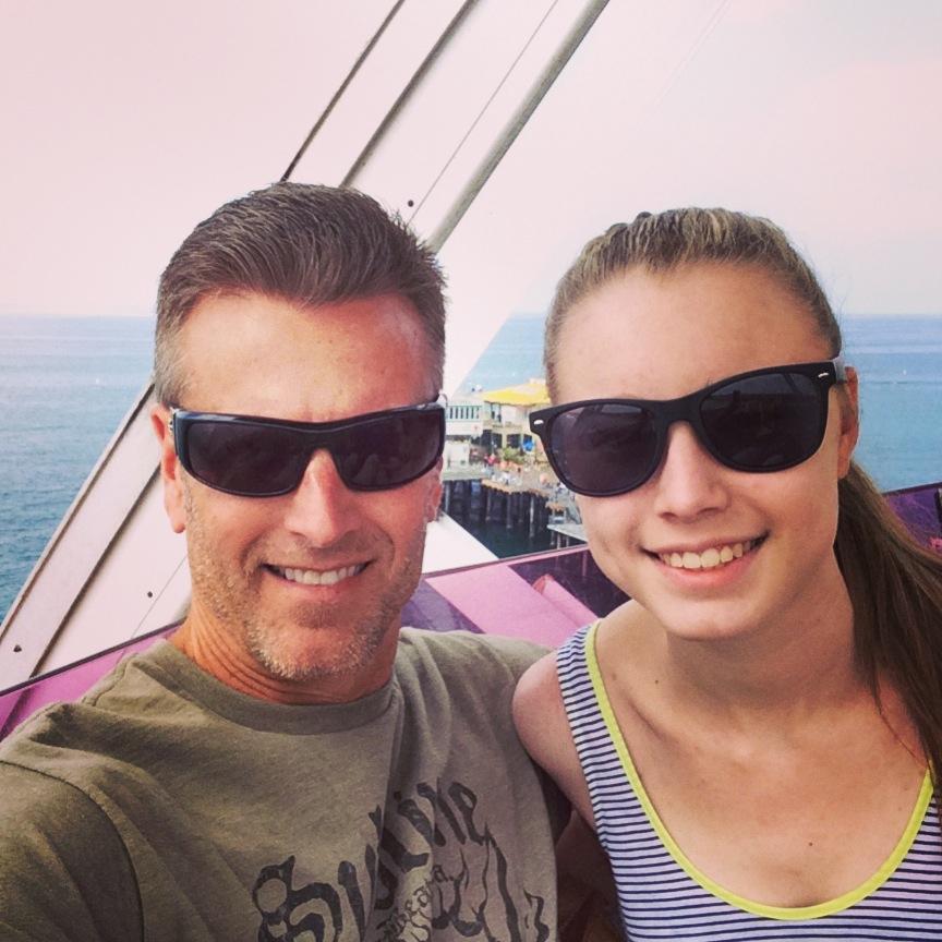 Tim and Kendal, high above Santa Monica, on the ferris wheel at the Santa Monica Pier