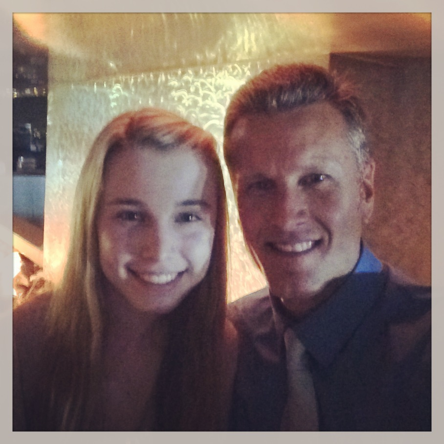 "Tim and Kendall on a Daddy/Daughter date at ""Skybox"" for Dan Rice's wedding in San Diego, CA"