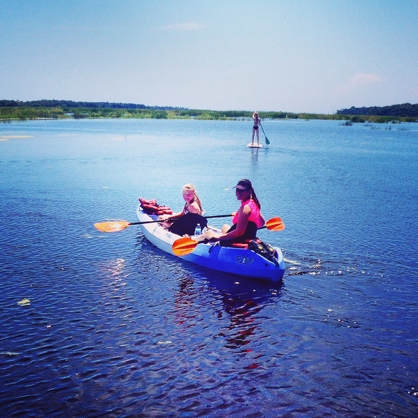 Mother and daughter kayaking in Guana River State Park