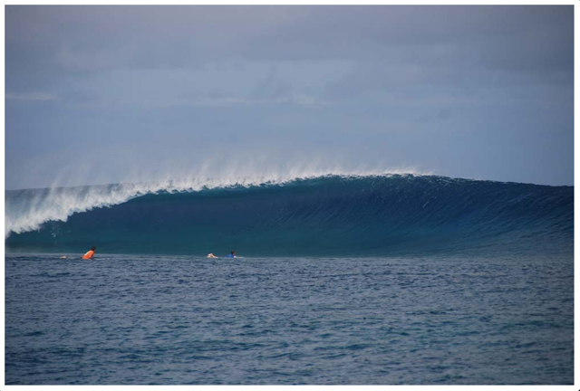 Pefect waves rolling in at Frigates in Fiji