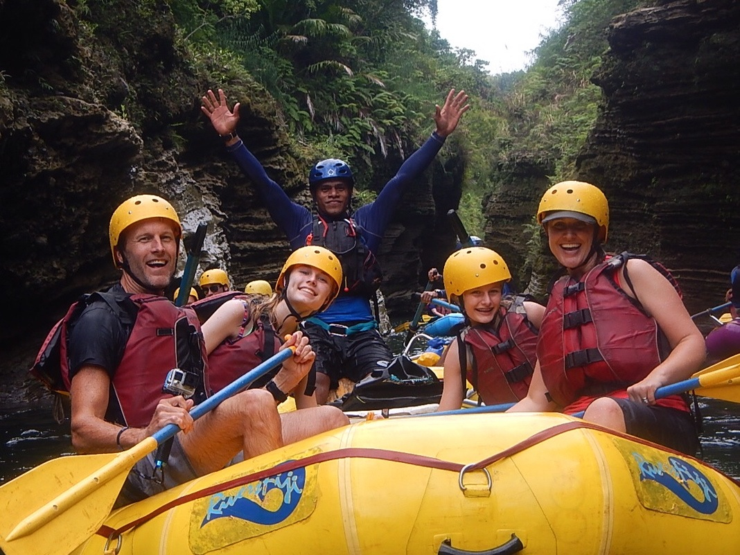 Whitewater rafting family