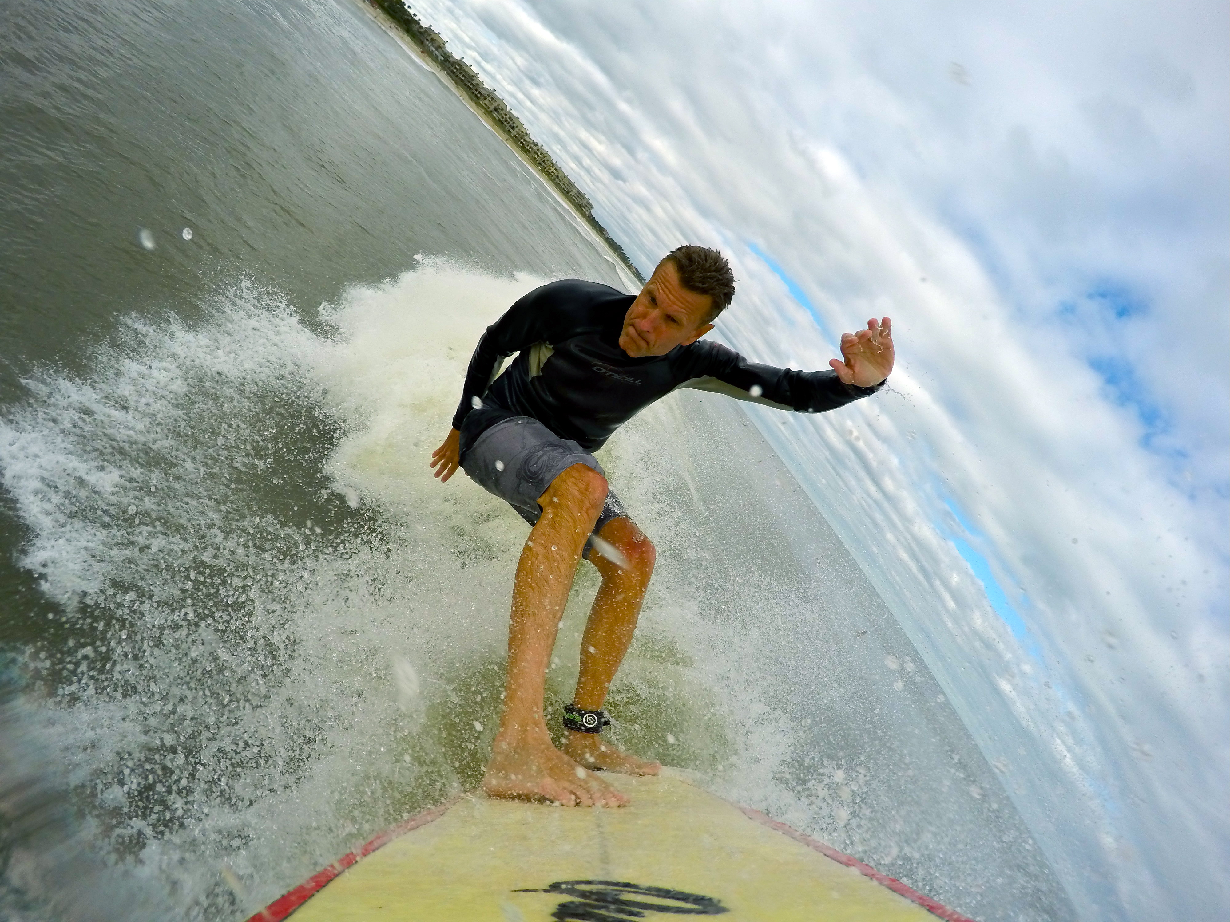 surfing in Hurricane Joaquin in Ponte Vedra Beach, FL October, 2015