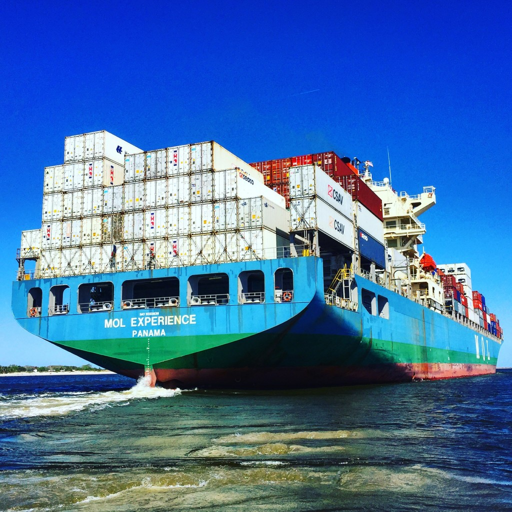 The view from behind a large cargo ship in Jax, FL