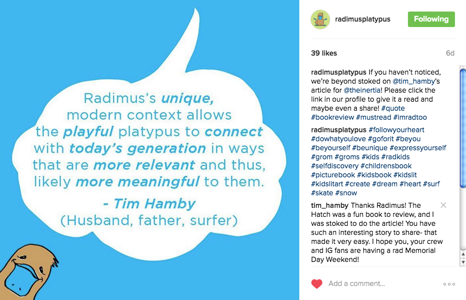 Radimus Platypus Instagram