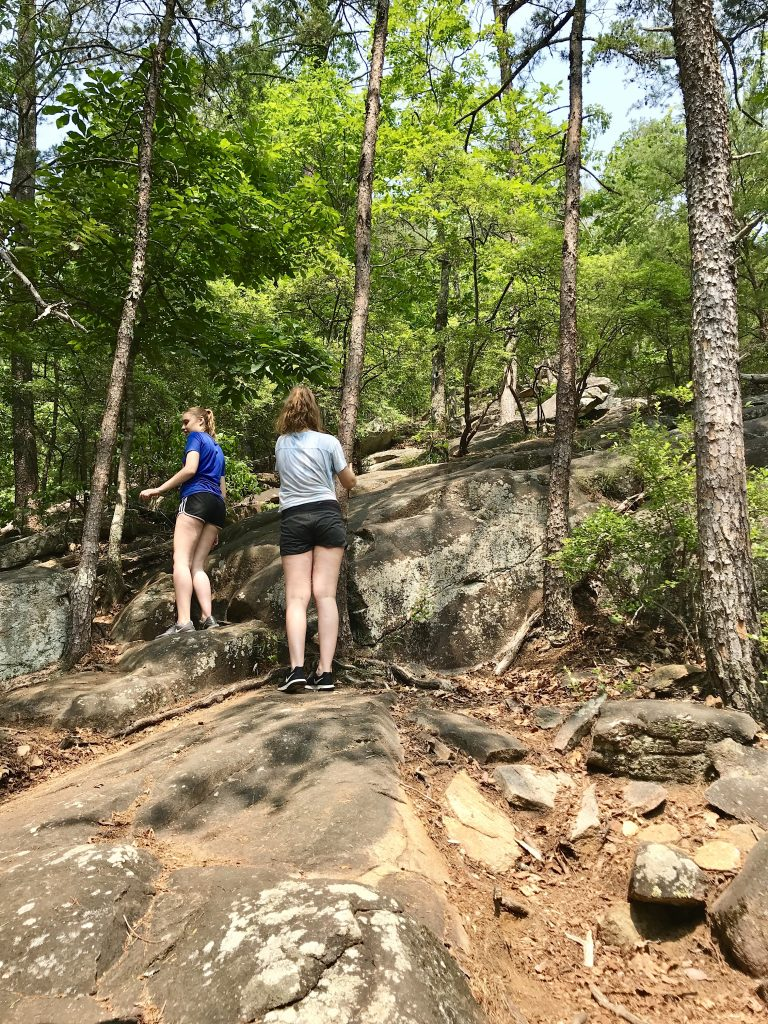 Hiking up the steep trail in Tallulah Gorge