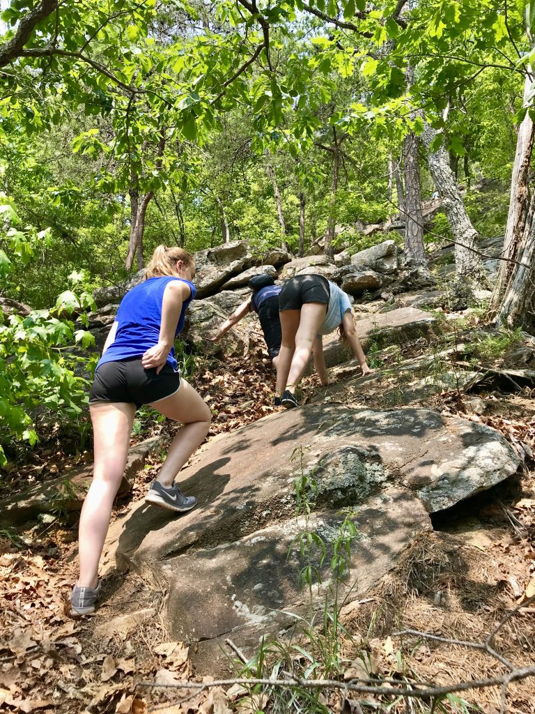 Hiking bear crawl-style up to the top of Tallulah Gorge