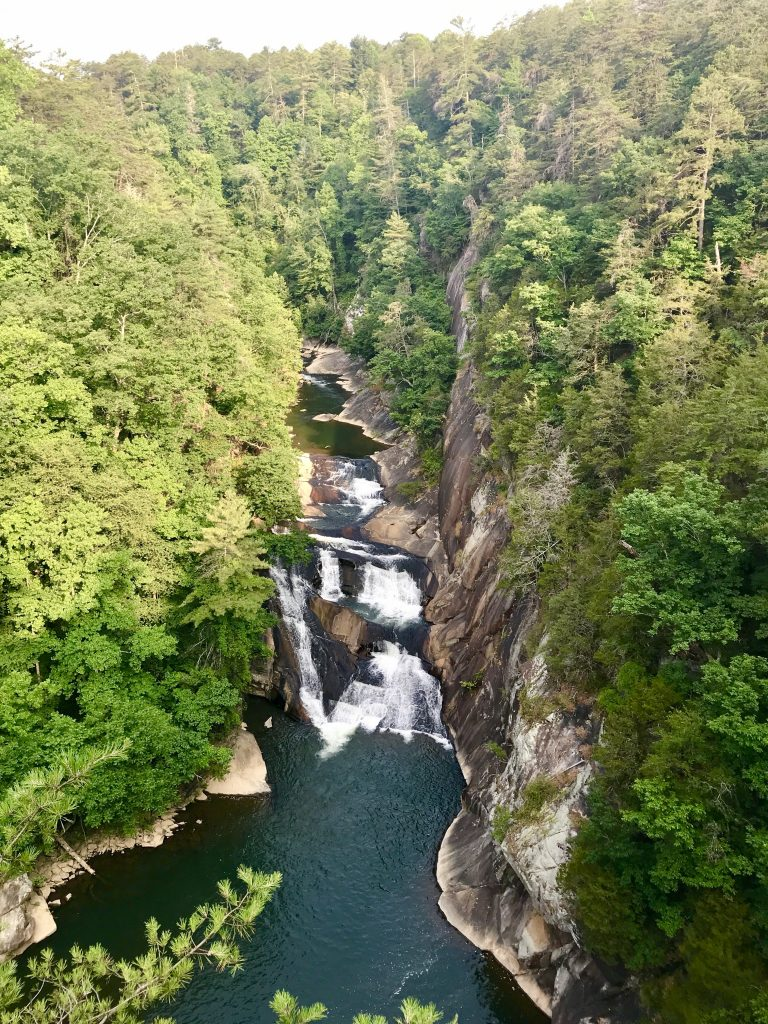 Tallulah Gorge with waterfalls between steep large canyon walls