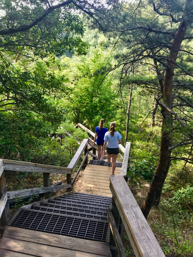 Heading down the stairs into Tallulah Gorge