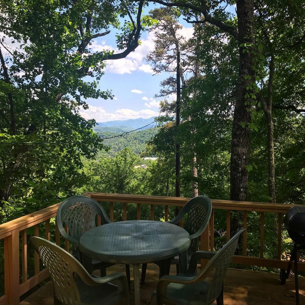Mountain view from the deck of a cabin in Franklin, NC