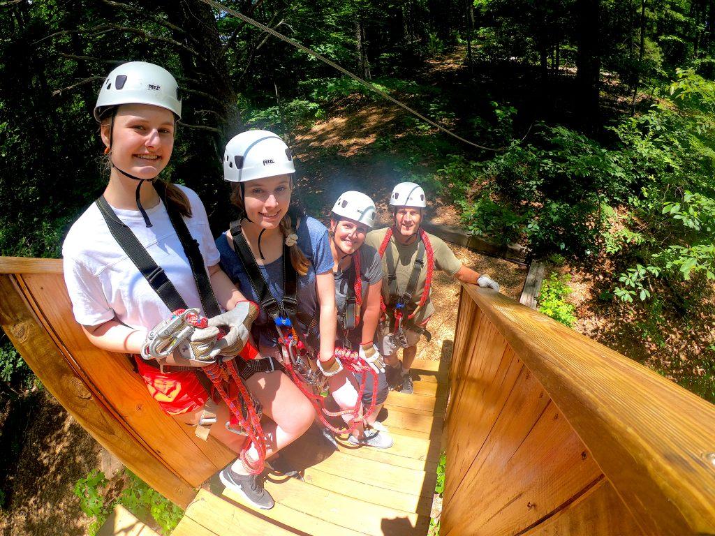 Ziplining family at Highlands Aerial Park near Franklin, NC