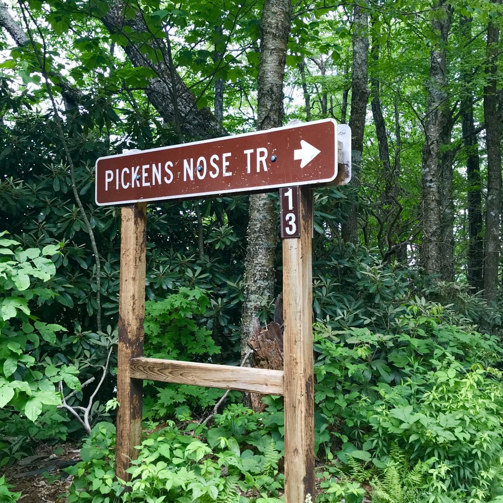 Sign points the way to the Picken's Nose trailhead