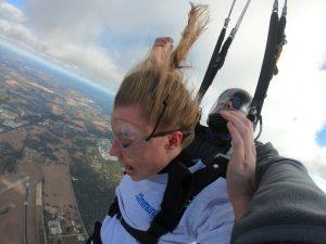 Girl screaming, falling at 120 miles per hour on a tandem skydive at Skydive City in Zephyrhills, FL