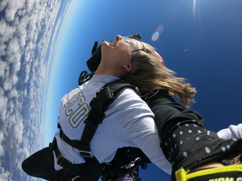 Skydivers free-falling on a tandem jump