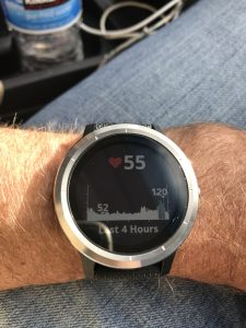 Watch with heart monitor quickly rising from 52 to 120 BPM rate